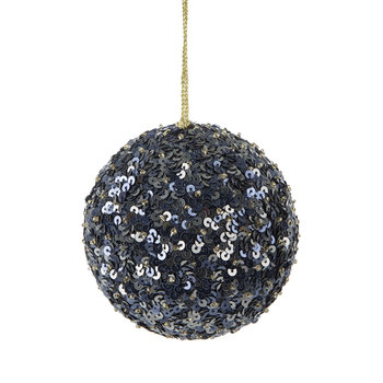 Set of 2 Sequin Tree Decorations - Navy