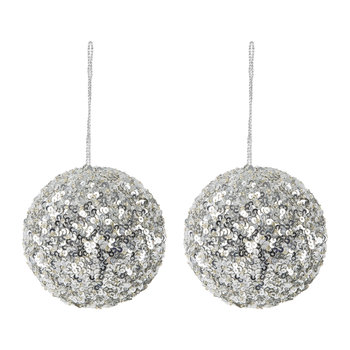 Set of 2 Sequin Tree Decorations - Silver