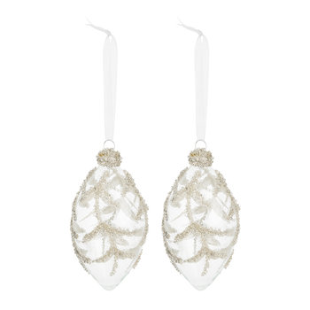 Clear Bauble with Beaded Leaf - Set of 2