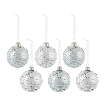Baubles with Glitter Branch - Set of 6