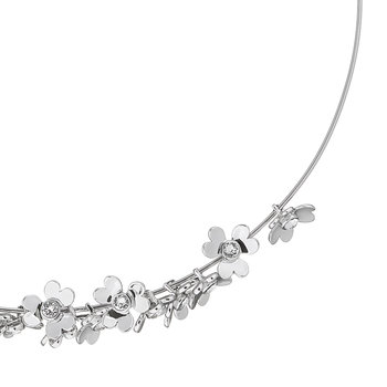 Hadriaa Heart Blossom Necklace - White Bronze