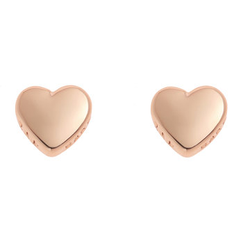 Harly Tiny Heart Stud Earrings - Rose Gold