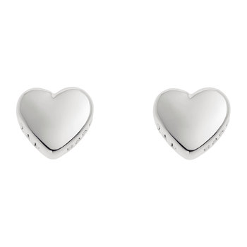 Harly Tiny Heart Stud Earrings - White Bronze