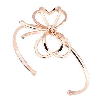 Lacole Heart Bow Cuff Bracelet - Rose Gold