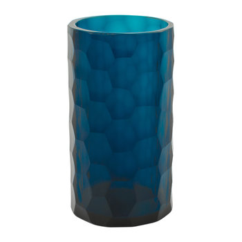 Chisel Cut Glass Toothbrush Holder - Midnight Blue