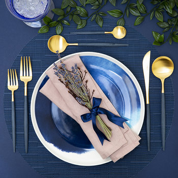 Goa Dinner Knife - Matt Blue Gold