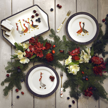 Christmas Geese Cake Plates - Set of 4
