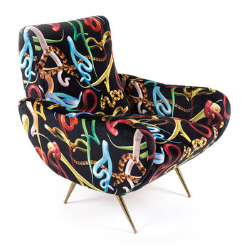 Upholstered Wooden Armchair - Snakes