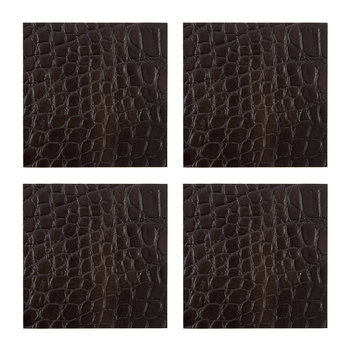 Gator Recycled Leather Coasters - Set of 4 - Dark Chocolate