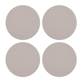 Round Leather Coasters - Set of 4 - Cloud