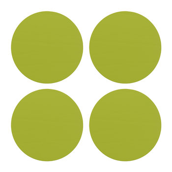 Round Leather Coasters - Set of 4 - Lime