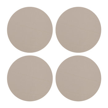 Round Leather Coasters - Set of 4 - Natural