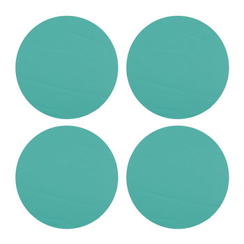 Round Leather Coasters - Set of 4 - Pool Green