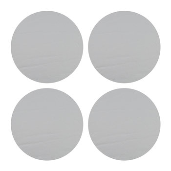 Round Leather Coasters - Set of 4 - Silver