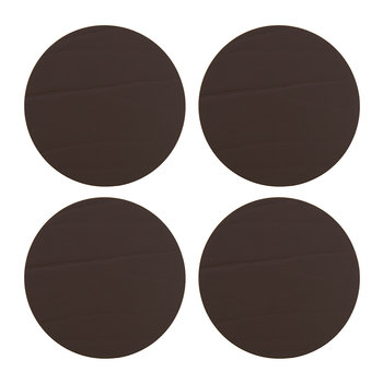 Round Leather Coasters - Set of 4 - Taupe