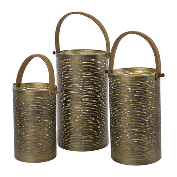 Iron Hurricanes - Set of 3 - Antique Gold With Tan Handles