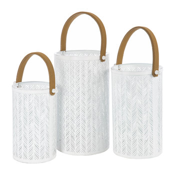 Iron Hurricanes - Set of 3 - White With Tan Handle