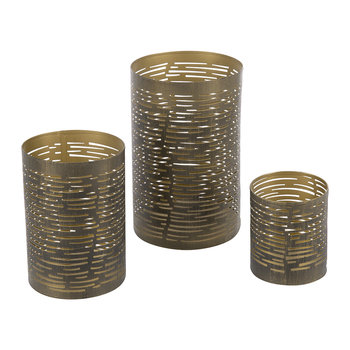 Iron Votives - Set of 3 - Antique Green/Gold