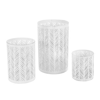 Iron Votives - Set of 3 - White
