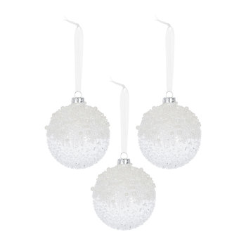 Speckled Ice Bauble with Pearls - Set of 3