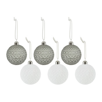 Assorted Diamond Baubles - Set of 6