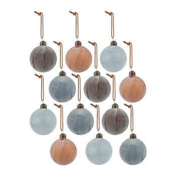 Assorted Frosted Finish Baubles - Set of 12