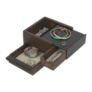 Mini Stowit Jewelry Box - Walnut/Black