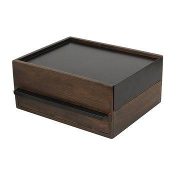Stowit Large Jewellery Box - Black/Walnut