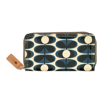 Laminated Flower Oval Stem Big Zip Wallet - Indigo