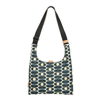 Laminated Flower Oval Stem Midi Sling Bag - Indigo