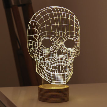 Skull Lamp - Glass/Plywood Birch