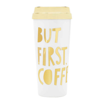 Deluxe Hot Stuff Thermal Mug - 'But First Coffee' Gold