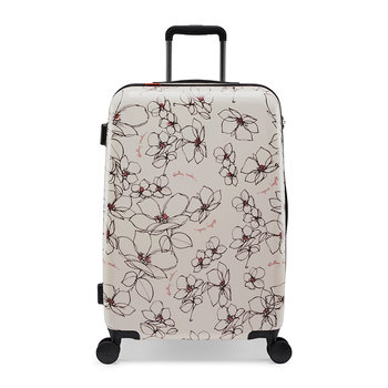 Linear Flower Suitcase -  Chalk