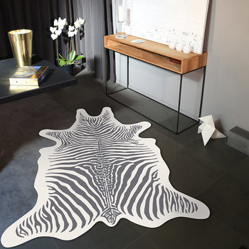 Tapis de sol en vinyle collection Zèbre - Blanc/Gris