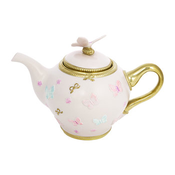 Butterfly Porcelain Teapot - Baby Rose/Gold