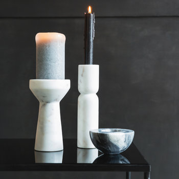 Tall White Marble Taper Candle Holder