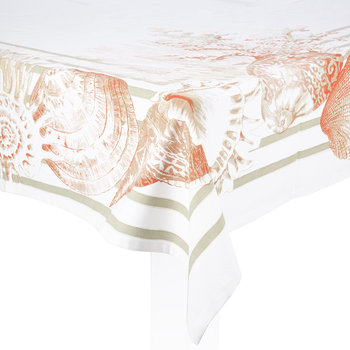 Riva Table Cloth - Coral/Natural