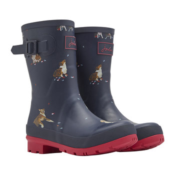 Women's Molly Mid-Height Wellies - French Navy Dogs in Leaves