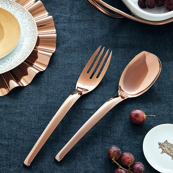 Living Serving Spoon & Fork Set - Copper