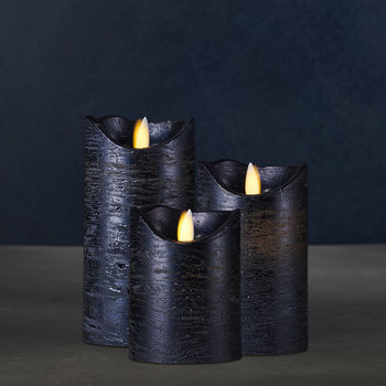 Sara Flameless Candle - Set of 3 - Metal Blue