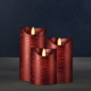 Sara Flameless Candle - Set of 3 - Red