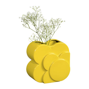Ceramic Shadow Spot Layered Vase - Yellow
