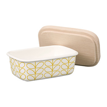 Enamel Linear Stem Butter Dish - Sunshine