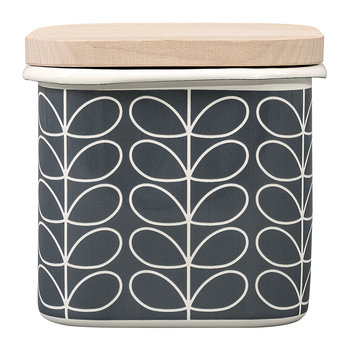 Enamel Linear Stem Storage Jar - Slate