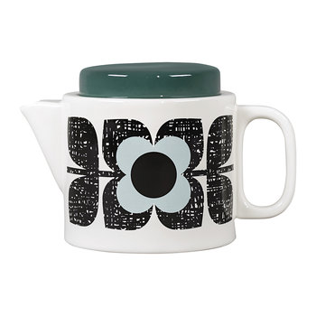 Scribble Square Flower Emaille-Teekanne - Aqua