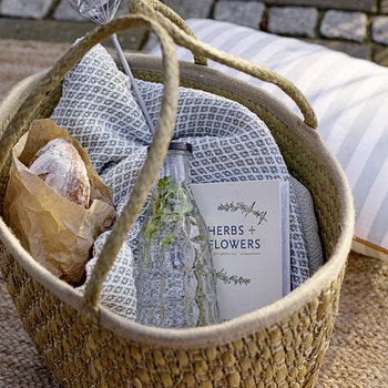 Lined Seagrass Basket - Natural