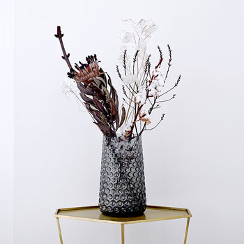Textured Glass Vase - Gray