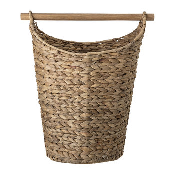 Woven Water Hyacinth Basket with Wooden Handle