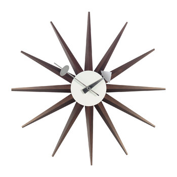 Large Sunburst Clock - Walnut