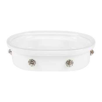Nova Jeweled Glass Soap Dish - White